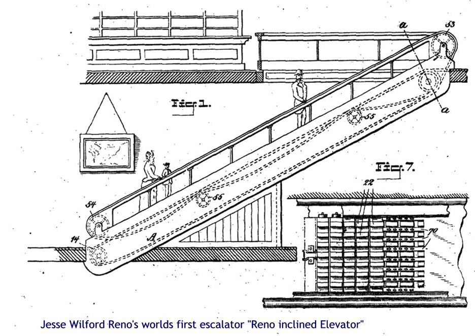 Jesse Wilford Renos world first escalator