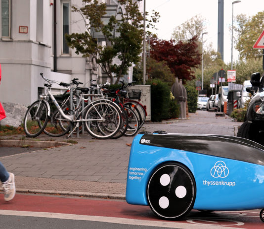 Thyssenkrupp TeleRetail Delivery Robot on Street